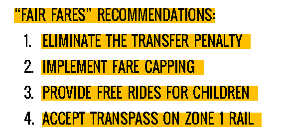 """Fair Fares"" Recommendations:  Eliminate the Transfer Penalty Implement Fare Capping Provide Free Rides for Children Accept TransPass on Zone 1 Rail"