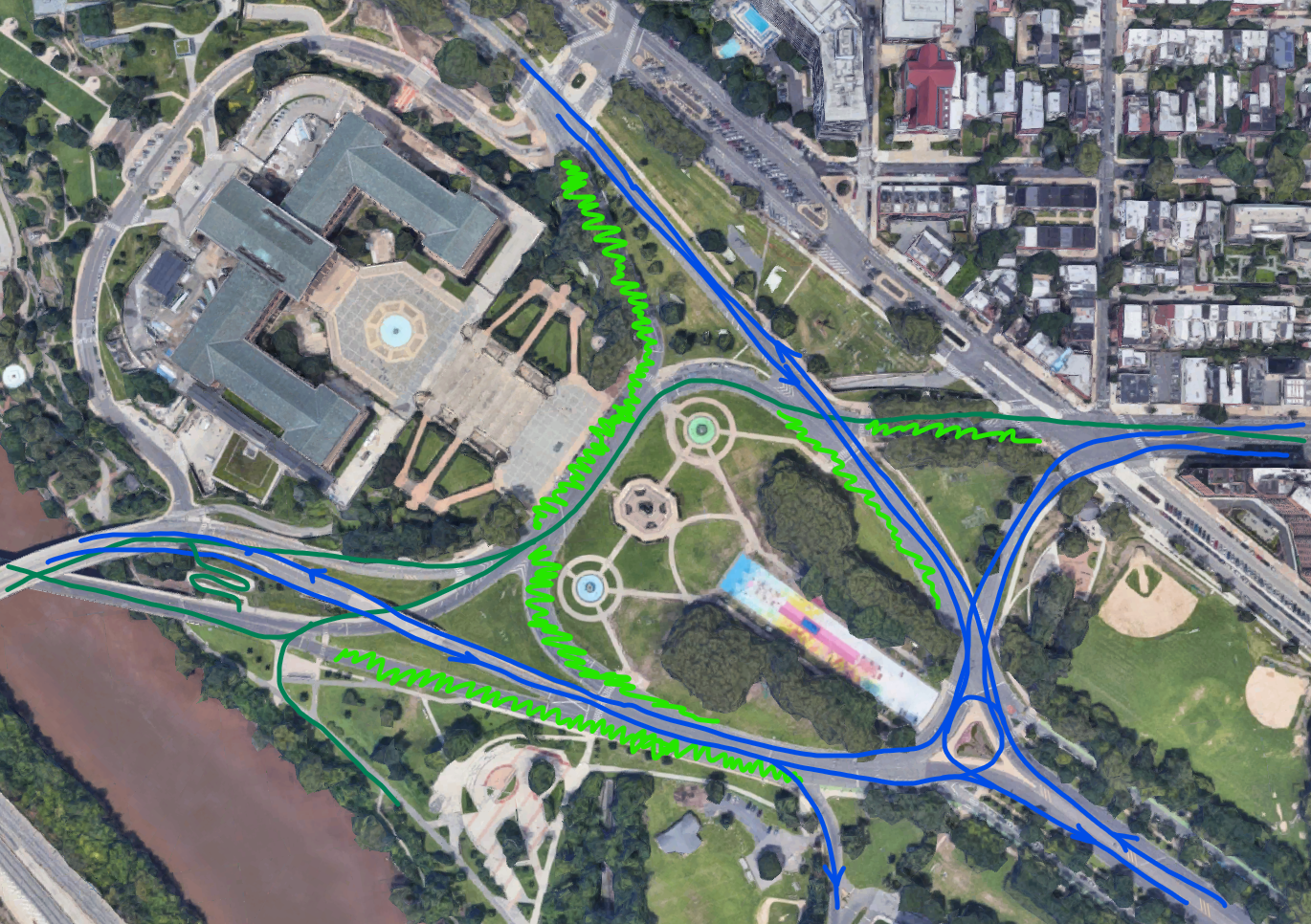 Rough sketch of future land use around the Oval. Blue is future traffic patterns, dark green is new bike connections, and light green is reclaimed green space
