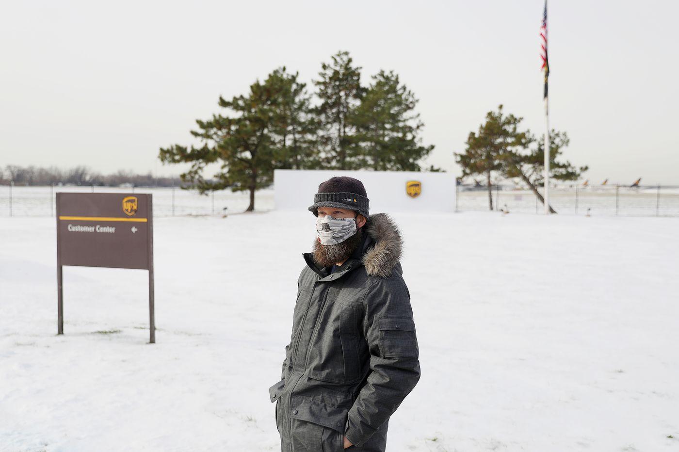 Ryan Boyd, Day Ramp Steward at the UPS Air Hub at Philadelphia International Airport, outside the facility last week.