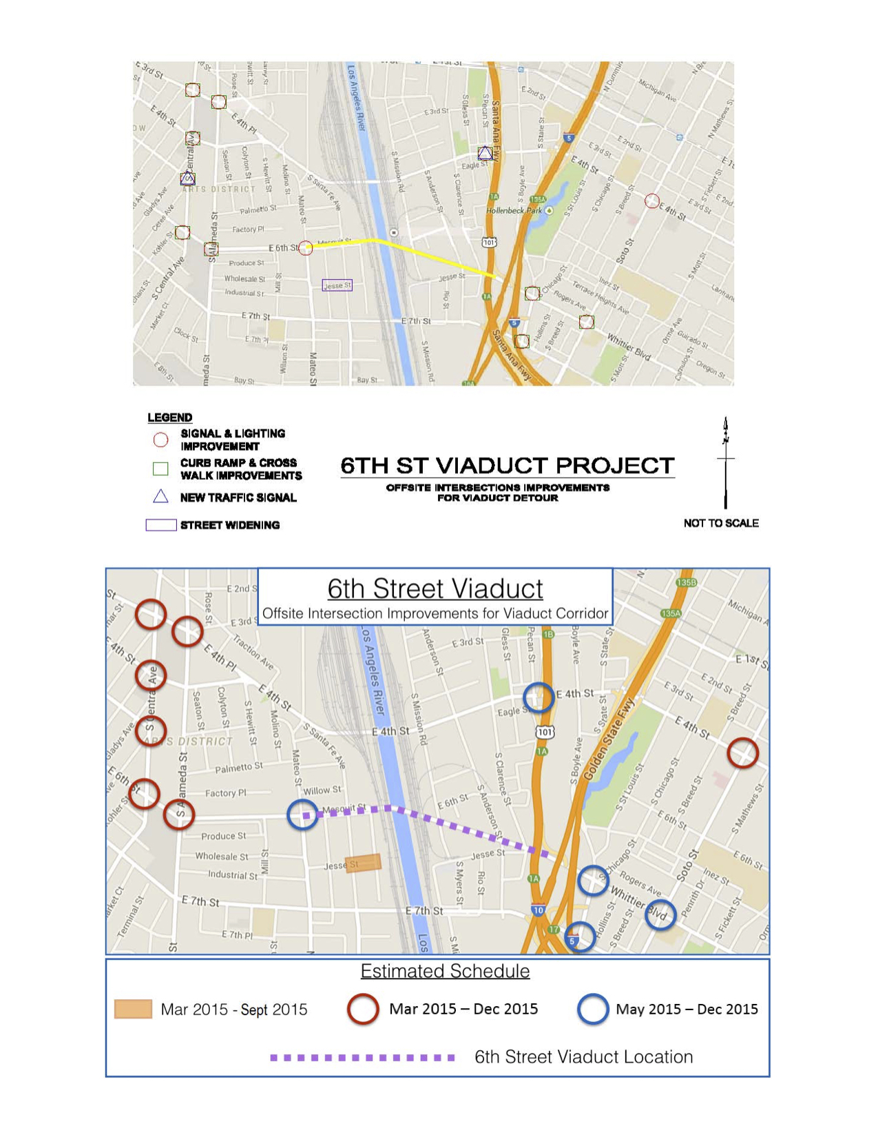 Map of Intersection improvements and construction for 11-02-15