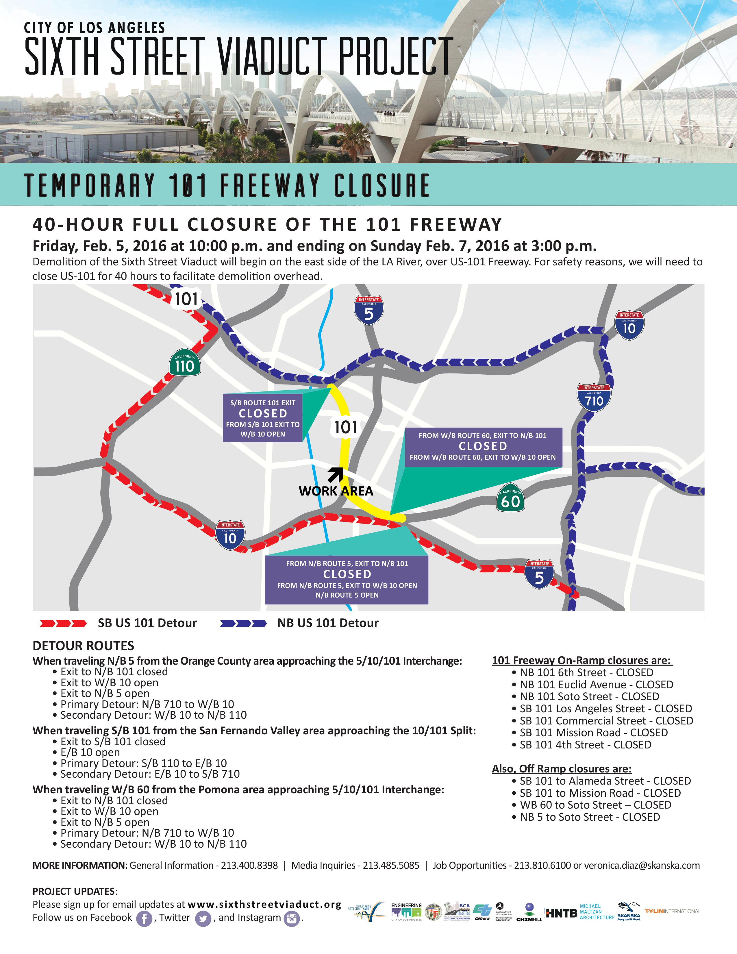 Closures In Downtown Los Angeles Begin Tonight Law Offices - Us 101 south map