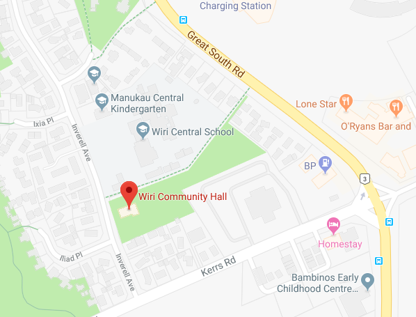 Map showing a closeup of the Wiri Community Hall just south of the Manukau Train Station