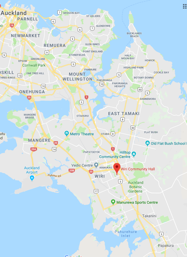 Map of Auckland, showing the Wiri Community Hall located in South Auckland