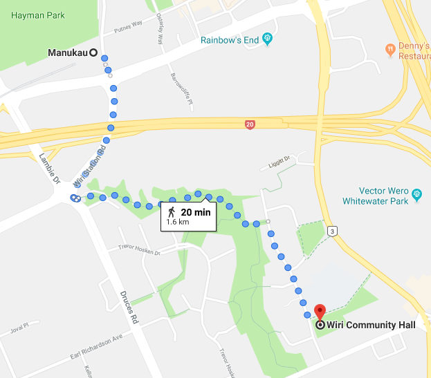 Map showing walking directions from the Manukau Train Station to the Wiri Community Hall, via Wiri Station Road