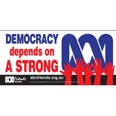 ABC Bumper Sticker 210x99mm Democracy demands