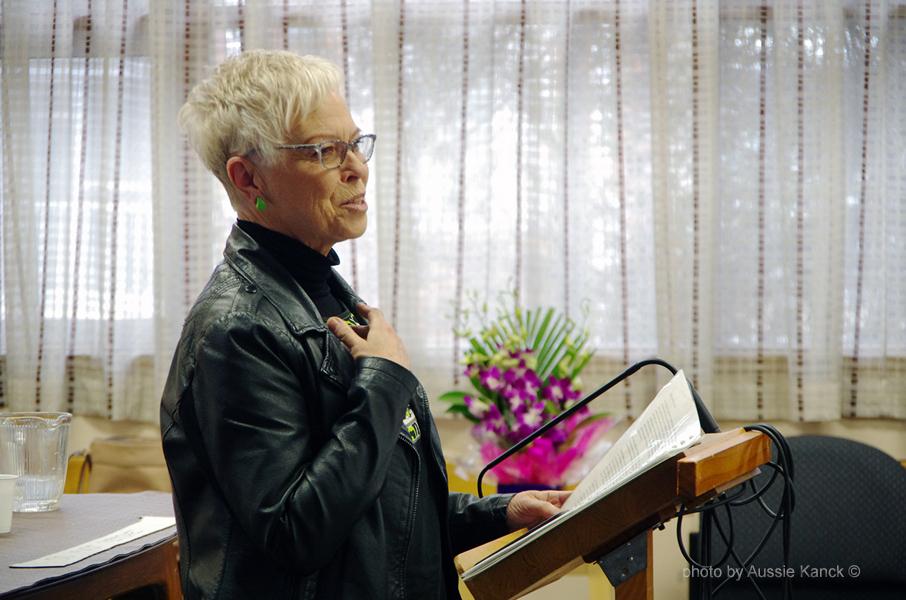 Julia Lester presenting her talk at SA AGM 2016