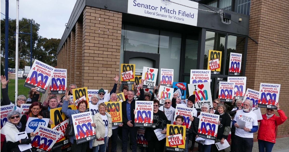 ABC Friends Vic outside Mitch Fifield's office
