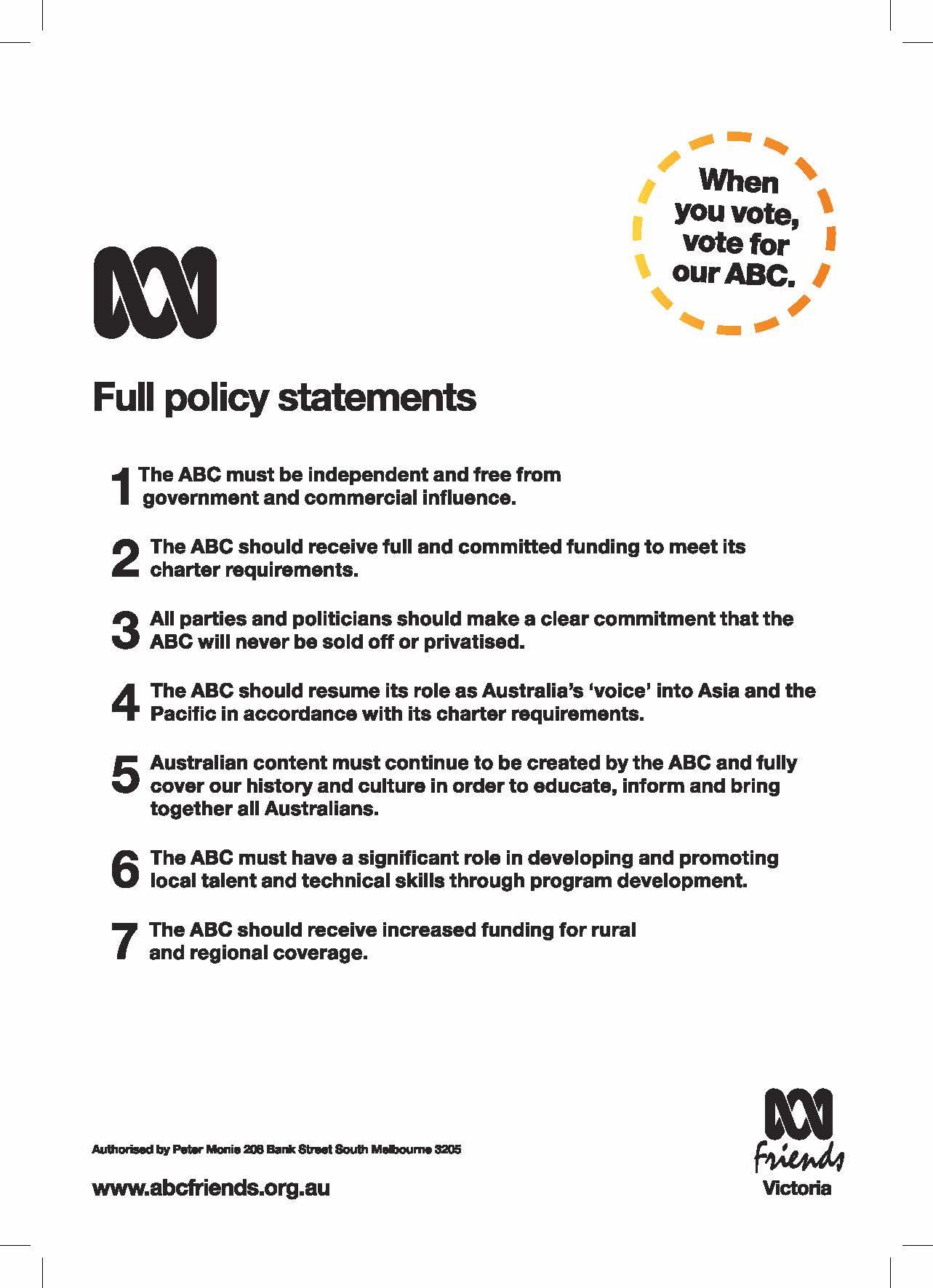 ABC Victoria scorecard