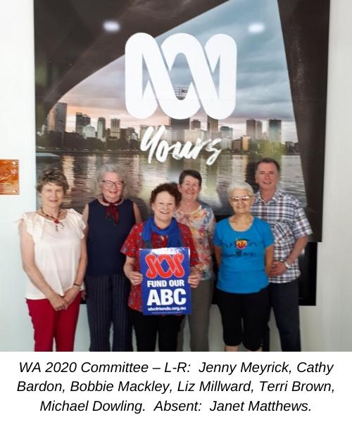 WA 2020 Committee – L-R:  Jenny Meyrick, Cathy Bardon, Bobbie Mackley, Liz Millward, Terri Brown, Michael Dowling.  Absent:  Janet Matthews.