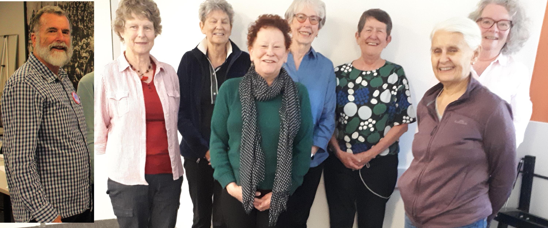 WA 2020 Committee – L-R - Michael (inset), Jenny, Rosie, Bobbie, Margo, Liz and Terri.