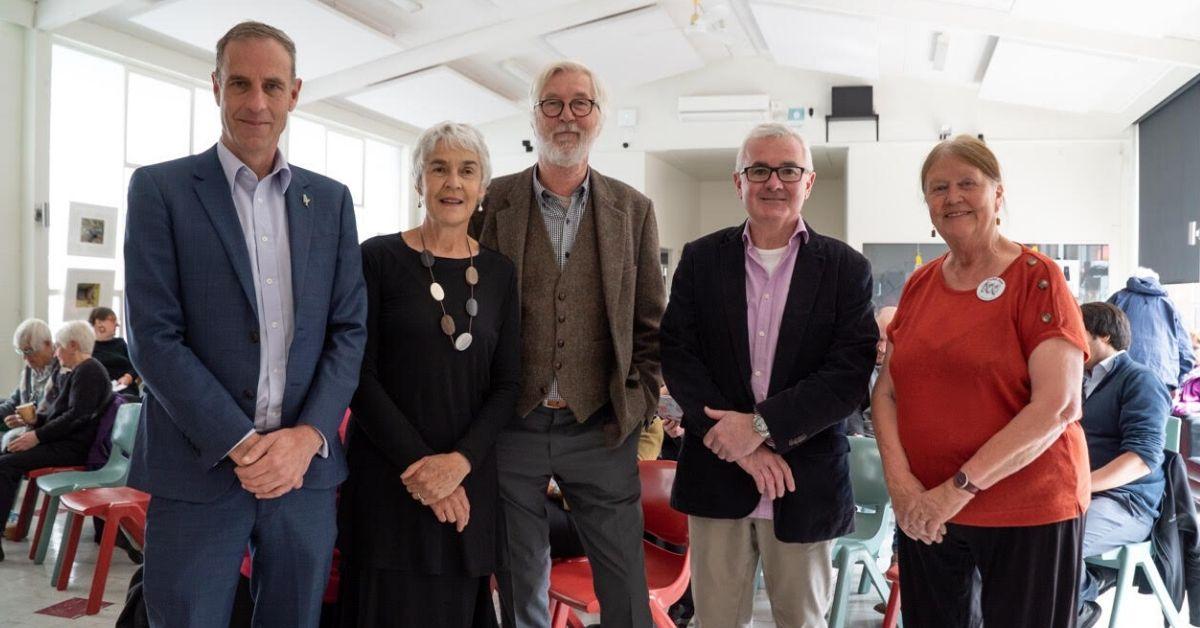 2019 Defend Media Freedom Forum Panel featuring Peter George, Nick McKim, Andrew Wilkie, Margaret Reynolds and MC Peta Fitzgibbon. Photo: Lara van Raay