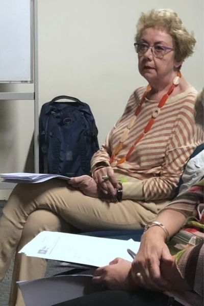 Treasurer Margaret Whealy relaxed after presenting her accounts