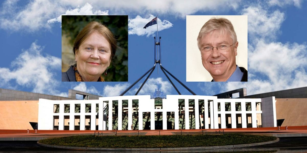 Pictures of Margaret Reynolds and Ed Davis overlaid a picture Parliament House, Canberra