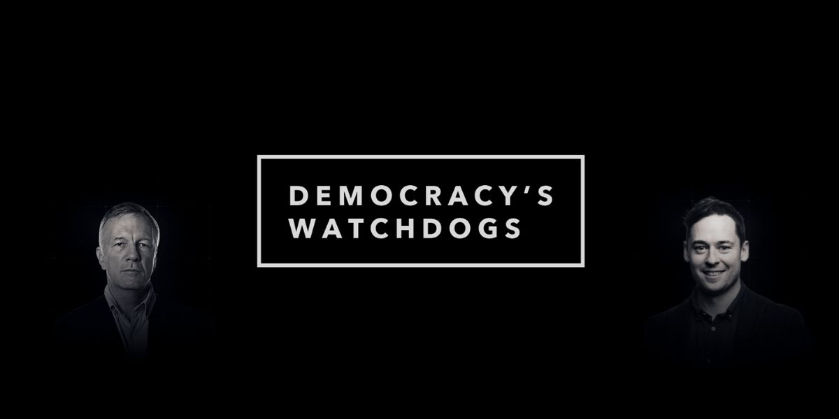 Democracy's Watchdogs logo with interviewees superimposed