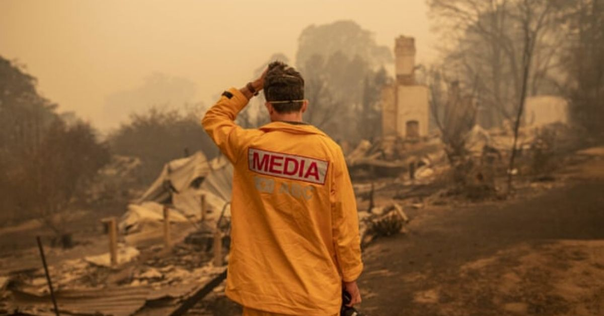 ABC journalist at the fire front