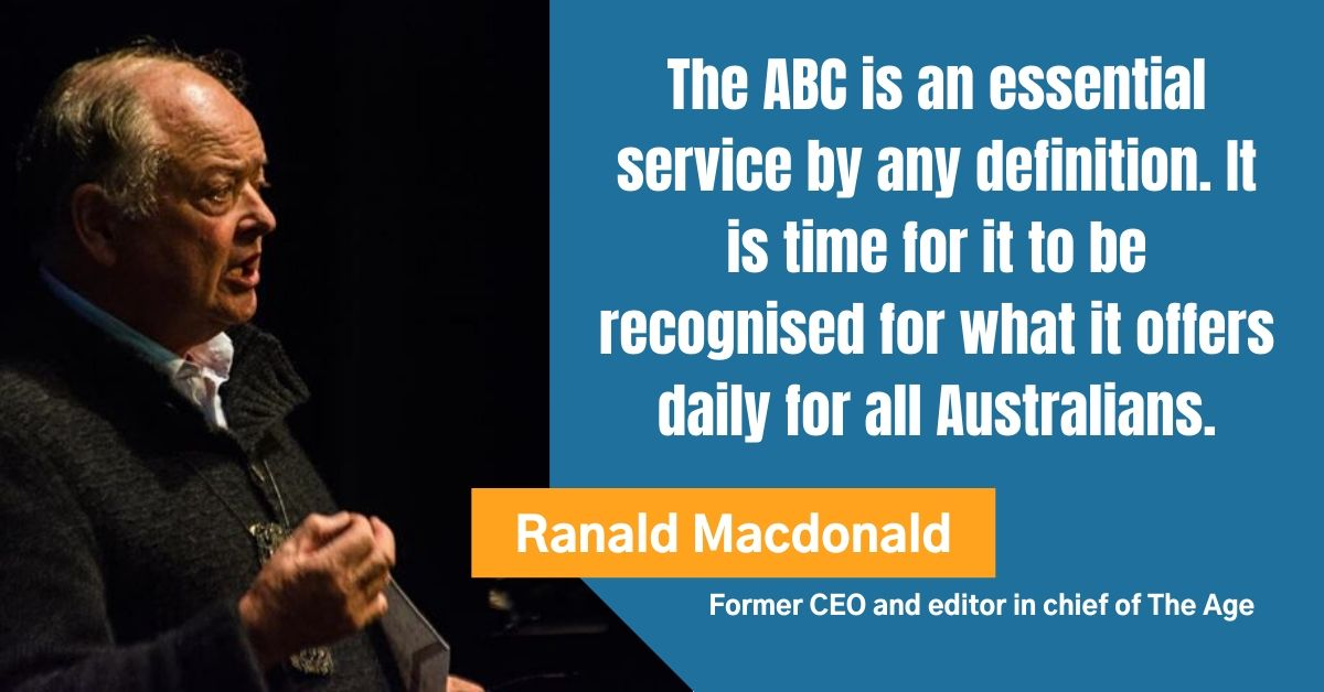 Former CEO and editor in chief of The Age: Ranald Macdonald