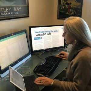 Update Production Manager, Angela Williamson contends with the microscopic detail of who receives the hard-copies of Update, and edits excel-spreadsheets.