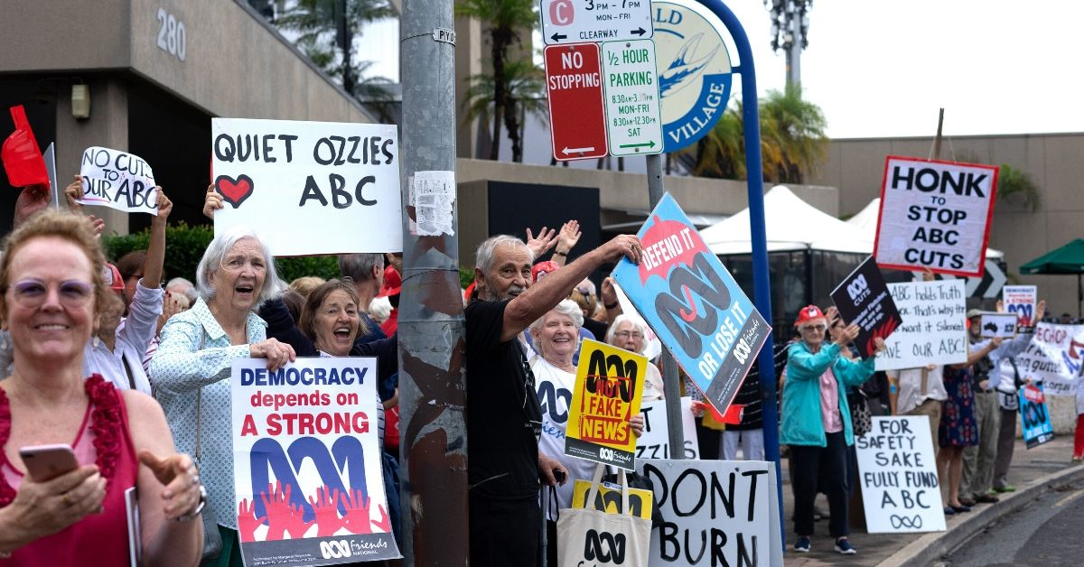 ABC Friends protest cuts before the COVID-19 outbreak