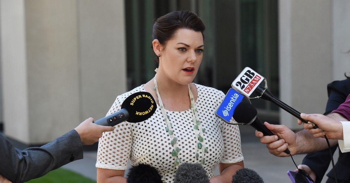 Senator Sarah Hanson-Young at a press conference