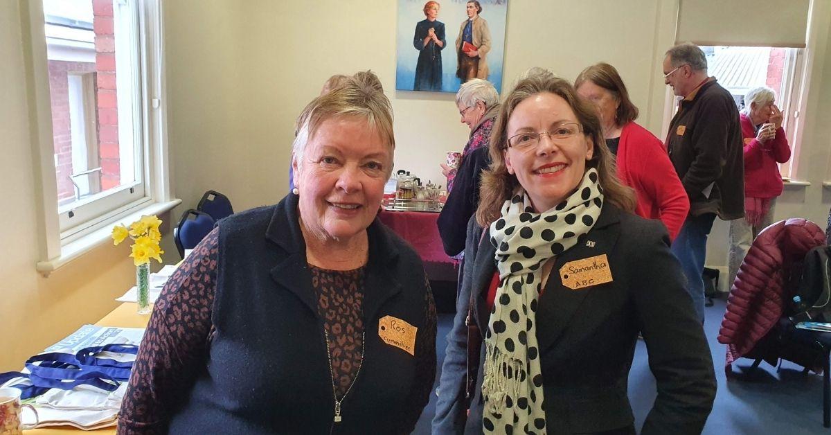 ABC Friends Tasmania's Southern Convenor, Roslyn Stoddart, with ABC's Samantha Stayner