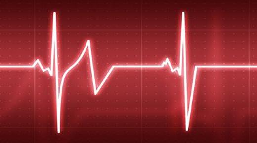 A pulse on a heartrate monitor