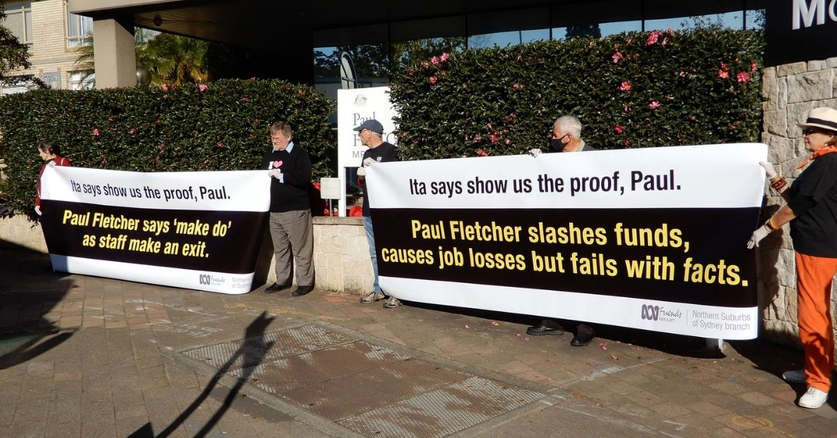 ABC Friends protest outside their local MP's, Paul Fletcher.