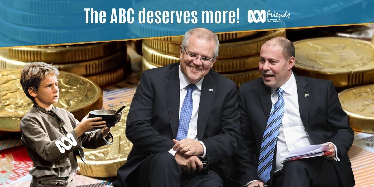 A meme depicting the ABC as Oliver Twist asking Prime Minister Scott Morrison and Treasurer Josh Frydenberg for more funding