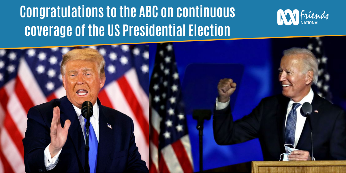 Trump (left) and Biden (right) with caption text 'Congratulations to the ABC for continous coverage of US Presidential Election'