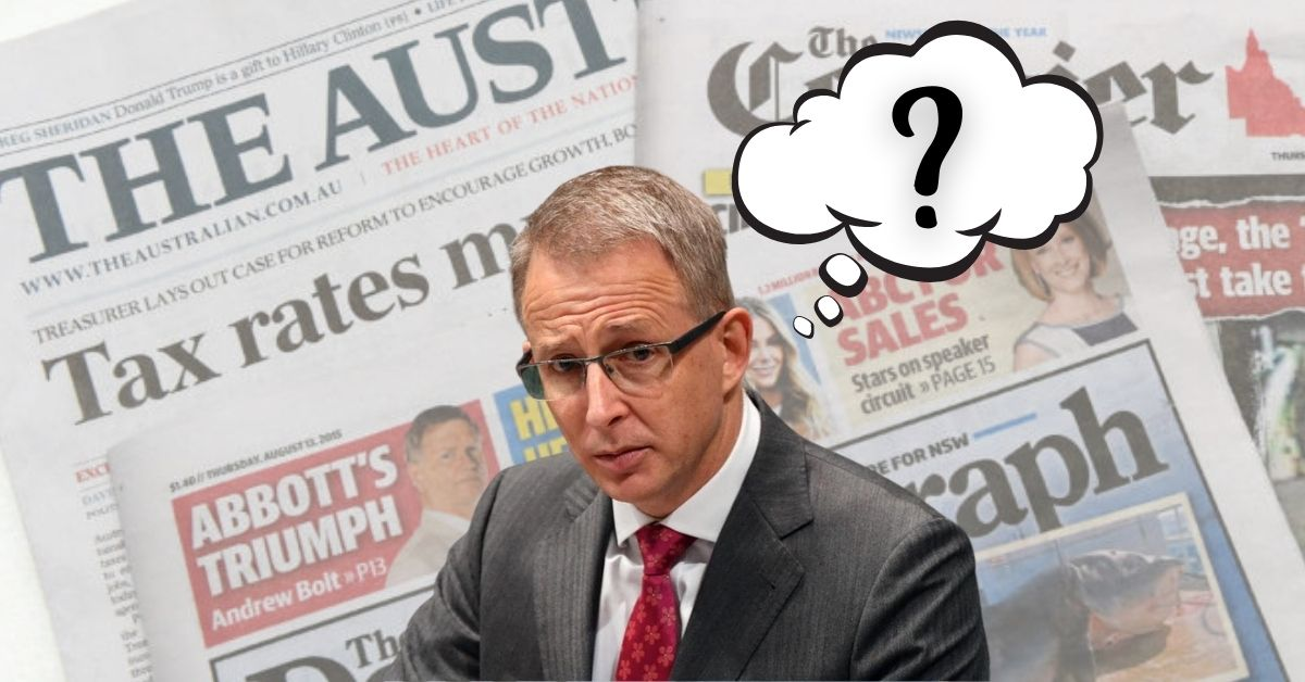 Paul Fletcher in front of News Corp papers with a thought bubble containing a question mark