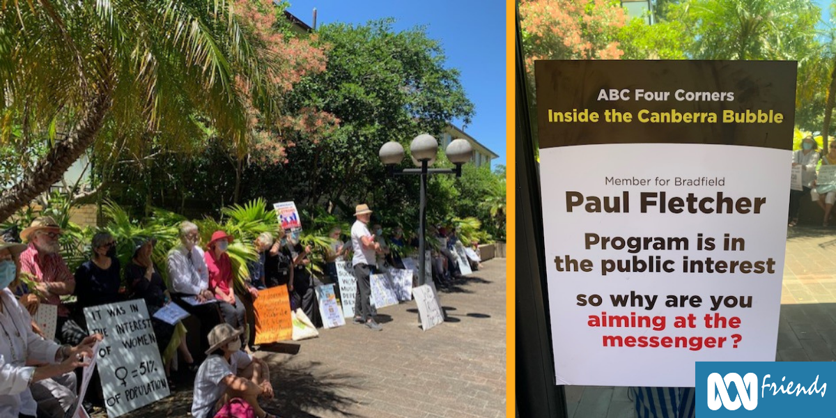 Left: A picture of supporters with signs outside Paul Fletcher's office.  Right: A protest sign on Paul Fletcher's office