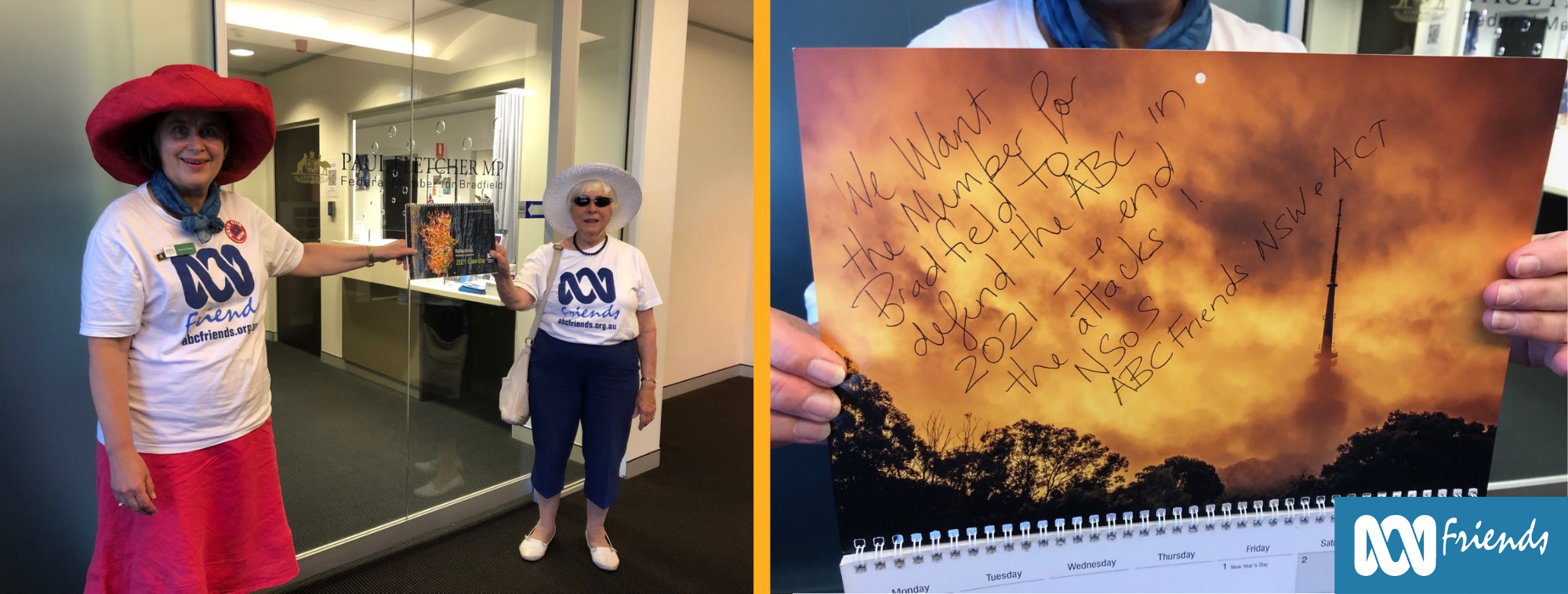 Left: ABC Friends delivering calendar to Mr Fletcher's office. Right: Close up of the calendar