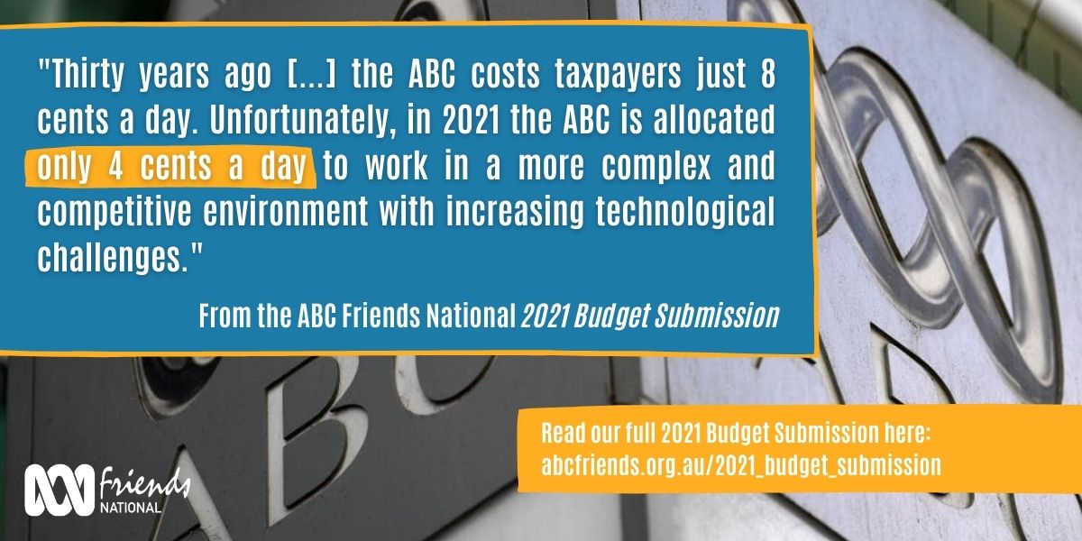 Pull quote from the ABC Friends National 2021 Budget Submission