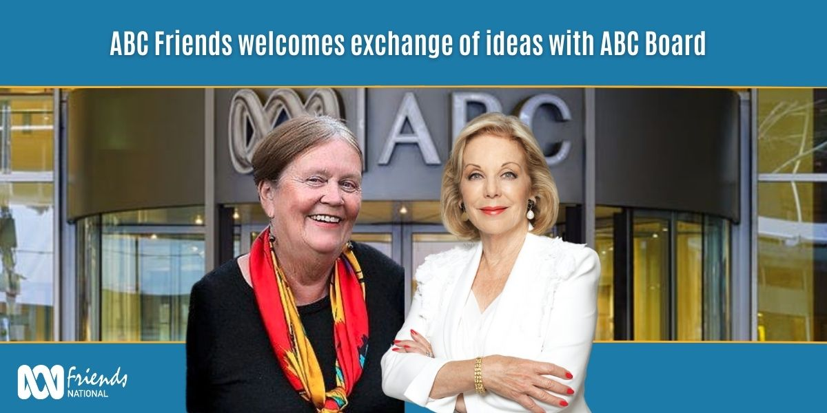 Picture of Margaret Reynolds and Ita Buttrose in foreground, ABC building in background