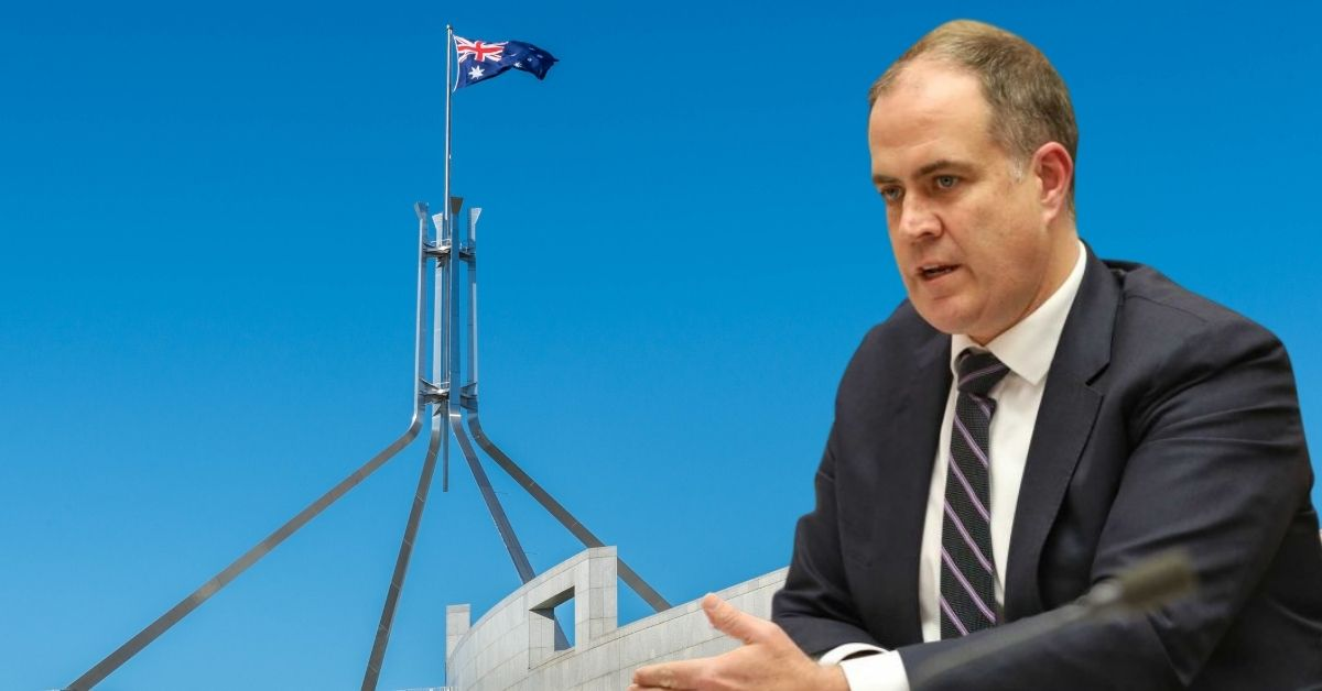 David Anderson superimposed over parliament house side lawns