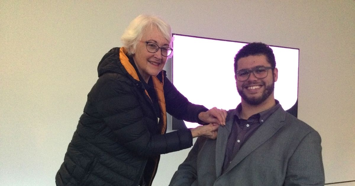 ABC Friends SA/NT President Sue Pinnock pins ABC Friends badge on Parliamentary Friend Senator Steele-John