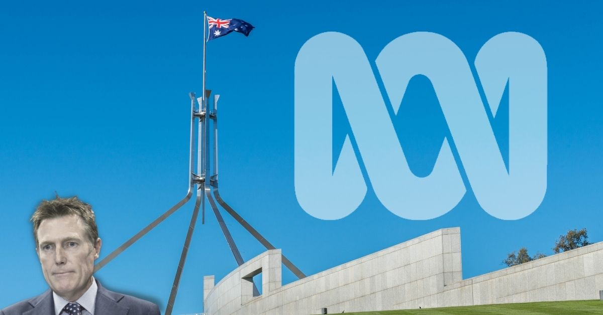 Christian Porter looks away from parliament and the ABC logo