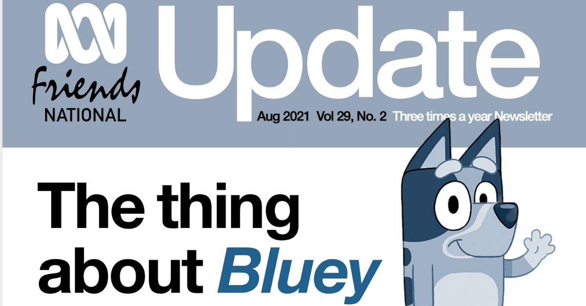 Logo for Update Magazine with headline 'The thing about Bluey'