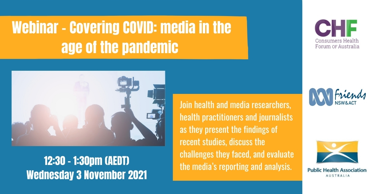 Promotional poster for the Covering COVID webinar