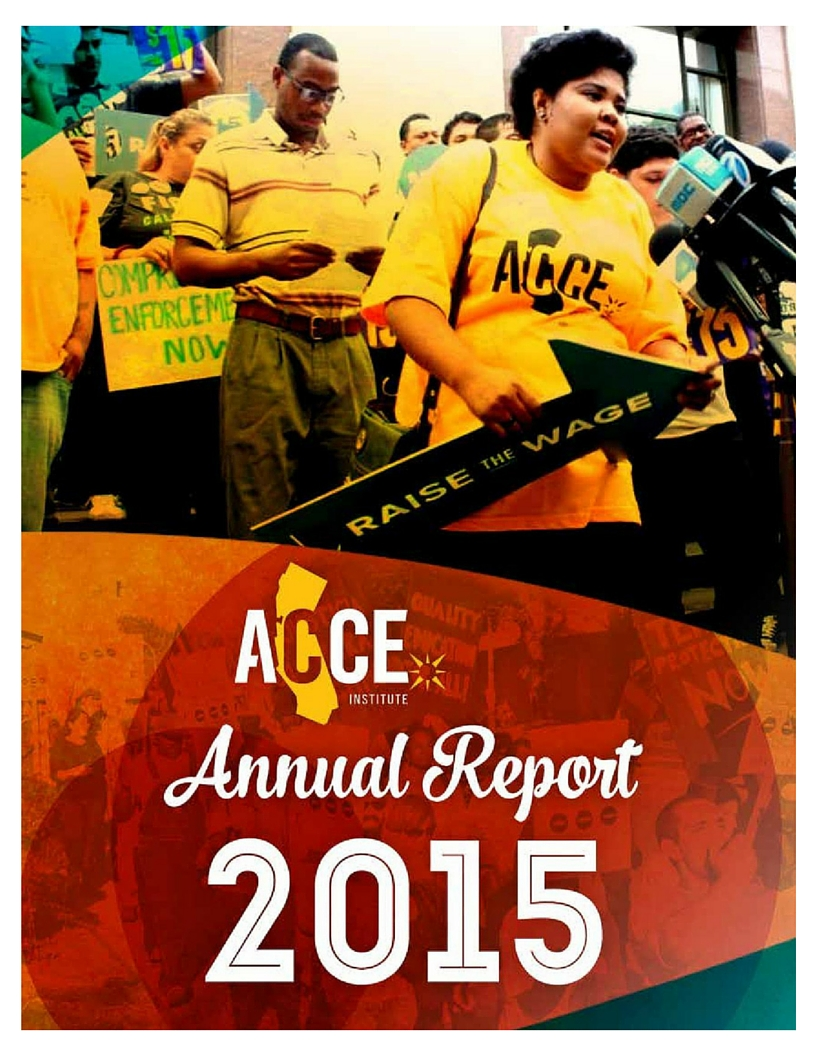 2015 Colorful Annual Report Cover of a member in front of the press speaking in support of Los Angeles minimum wage increase.