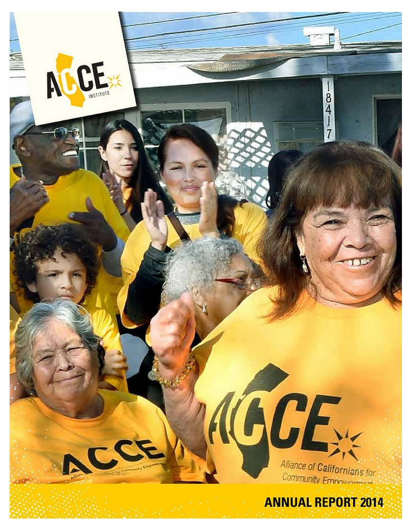front cover of 2014 annual report, with various joyful ACCE Institute leaders.