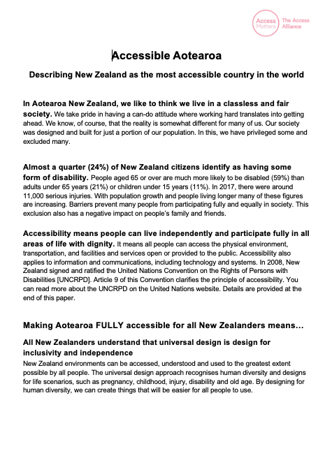 Link to Accessible Aotearoa Document in HTML