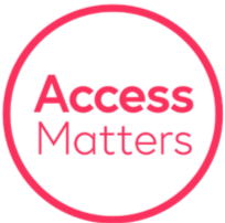 The Access Matters Logo, A pink circle with the text access matters inside it
