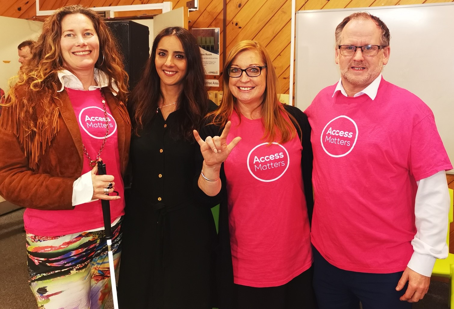 A photos of Green MP Golriz Ghahraman with Access Matters members