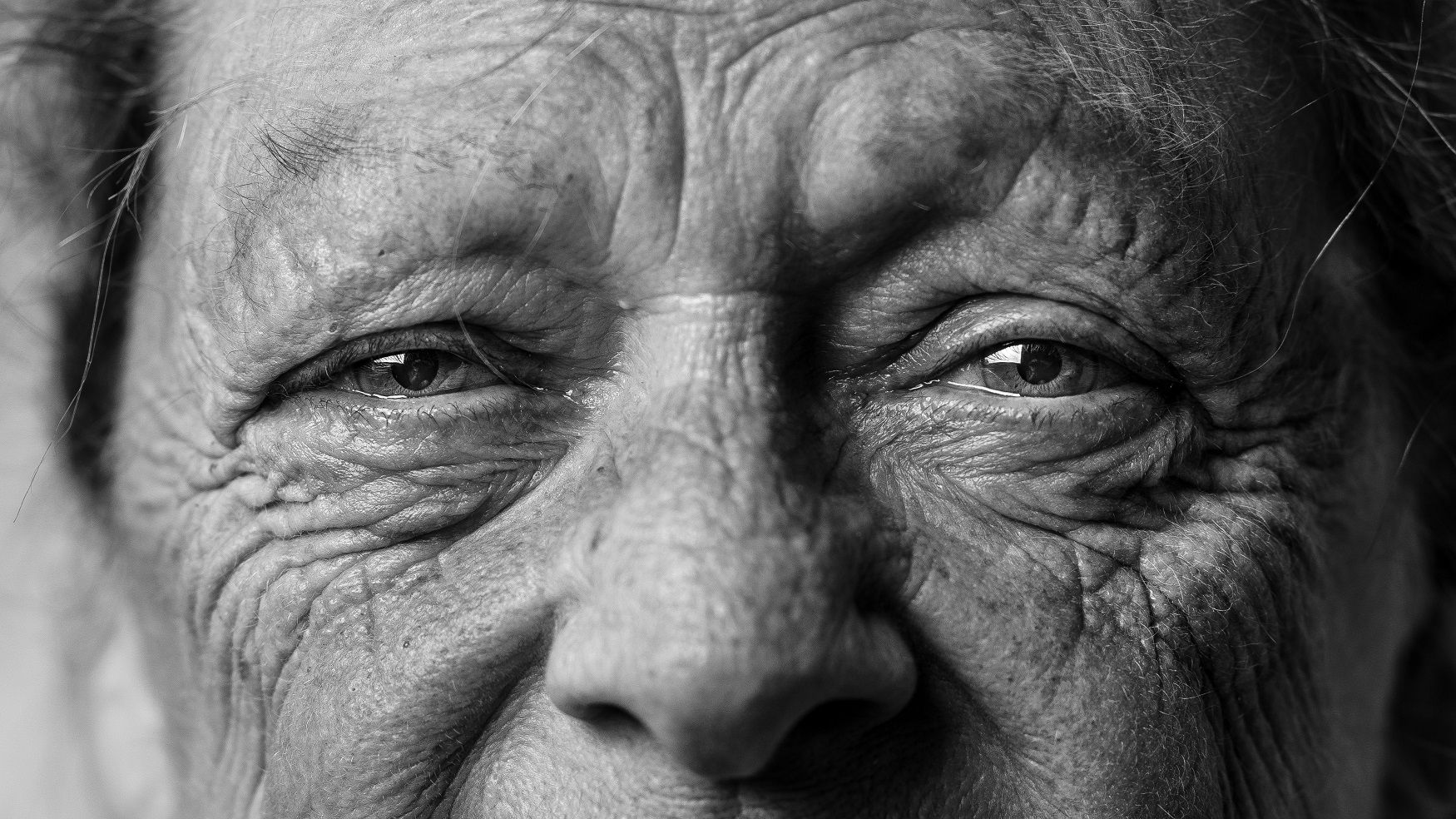 Close-up of older person's eyes