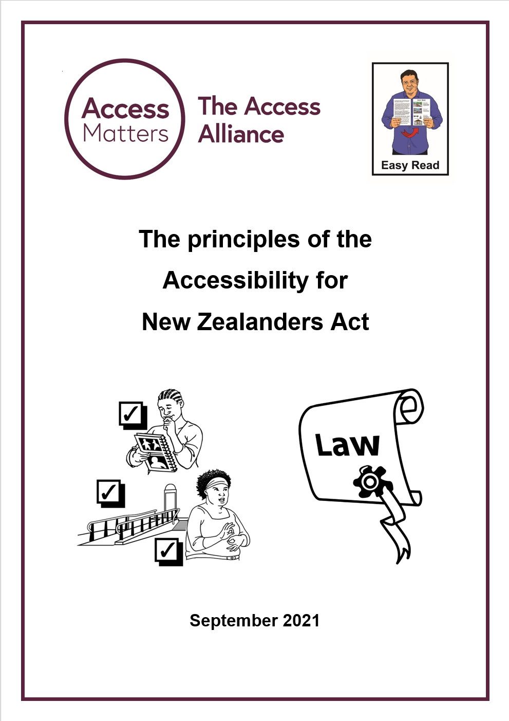 Principles of Accessisibilty Act Easy Read Cover Screenshot