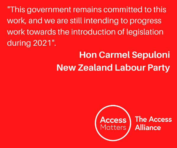 """Red Tile: """"This government remains committed to this work, and we are still intending to progress work towards the introduction of legislation during 2021."""" Hon Carmel Sepuloni, New Zealand Labour Party."""