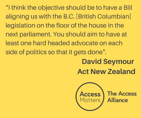 """Yellow Tile: """"I think the objective should be to have a Bill aligning us with the B.C [British Columbian] legislation on the floor on the house in the next parliament. You should aim to have at least one hard headed advocate on each side of politics so that it gets done."""" David Seymour, Act New Zealand."""