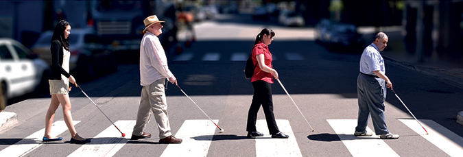 Four people using canes on pedestrian crossing