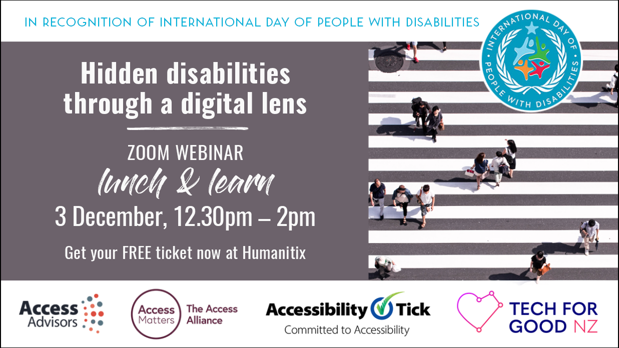 Hidden Disabilities Through a Digital Lens zoom webinar promo graphic
