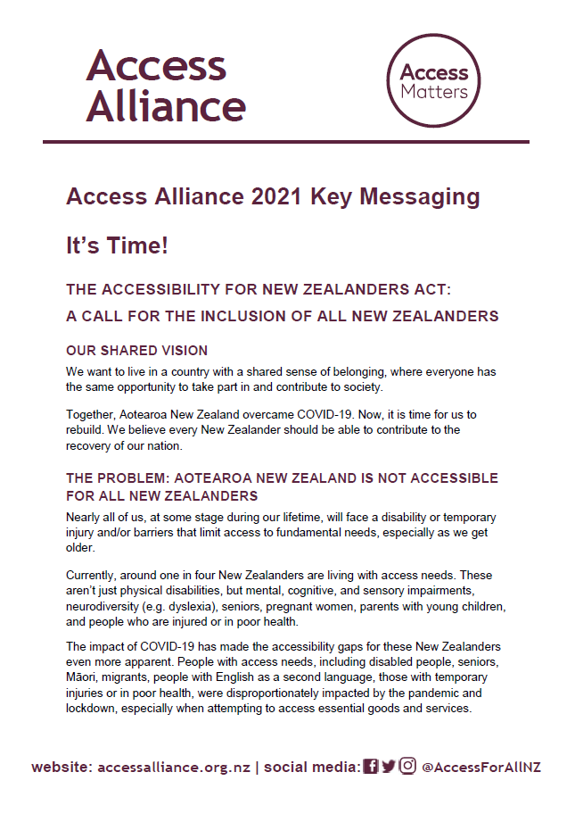 Access Alliance 2021 Key Messaging graphic